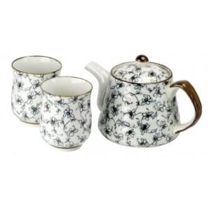 Juego de tetera y 2 cuencos Porcelana Japonesa